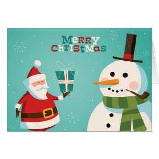 Christmas card with Santa and snowman