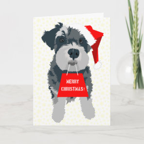 Christmas Schnauzer Dog Santa Hat Greeting Card
