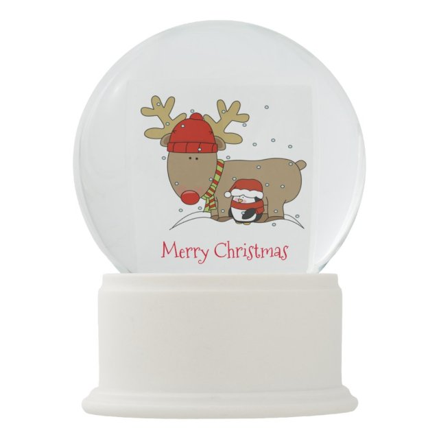 Christmas Snowglobe/Reindeer and Penguin