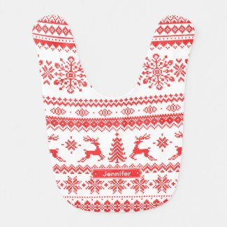 Christmas pattern monogram bib