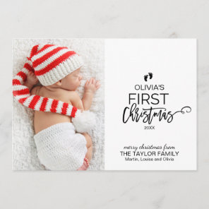 Christmas Tree Baby's First Christmas Photo Holiday Card