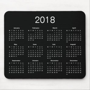 Classic Simple Black And White 2018 Calendar Mouse Mat