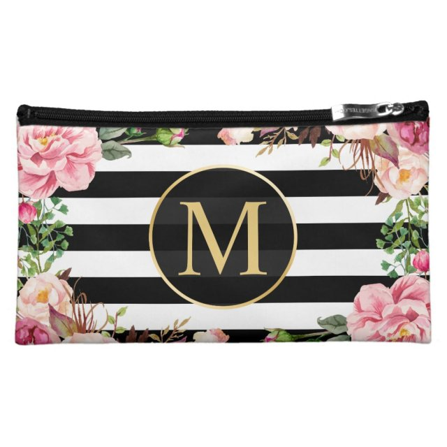 Vintage Floral Monogram Cosmetic Bag