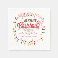 Colorful Christmas Lights Holiday Paper Napkins