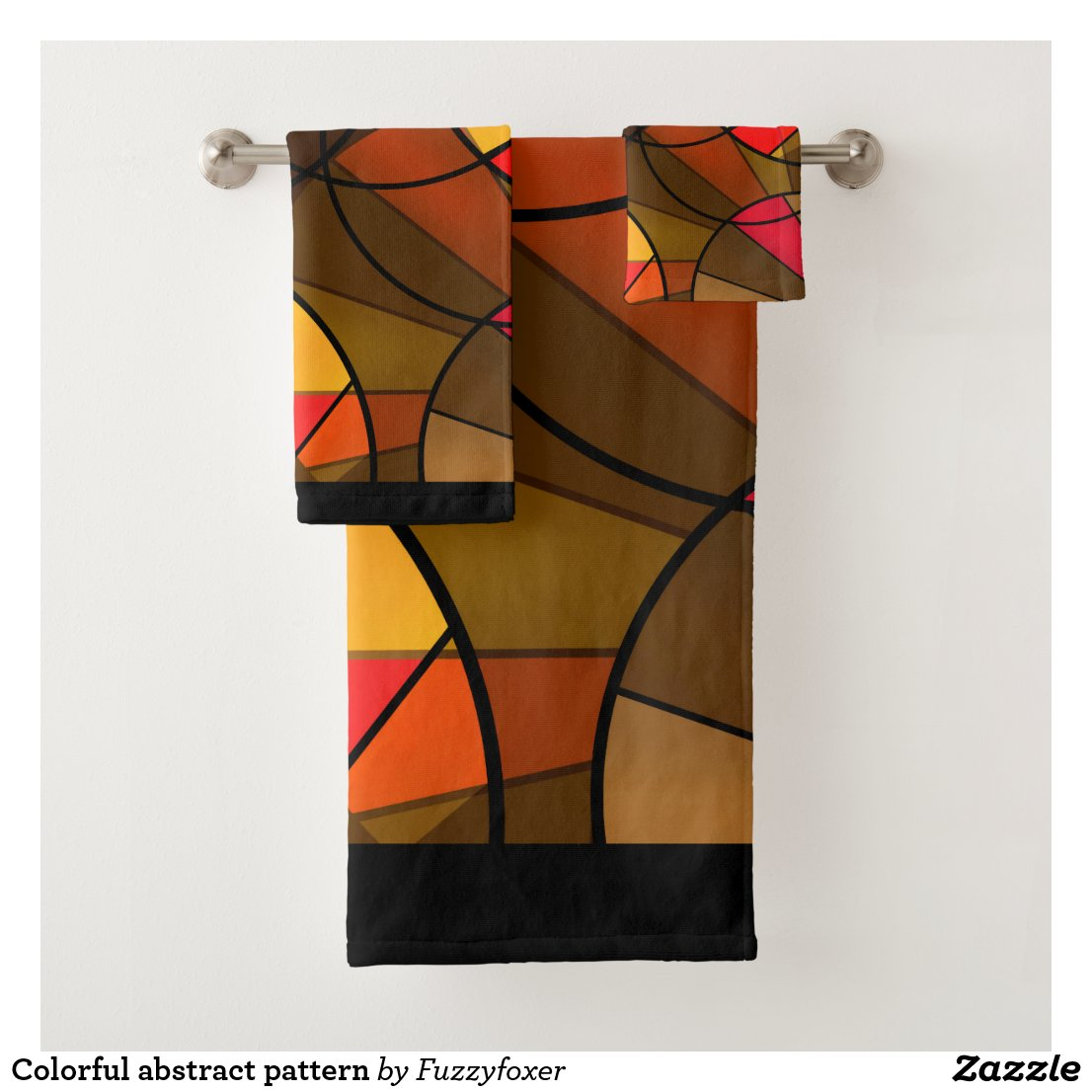 Colourful abstract pattern bath towel set