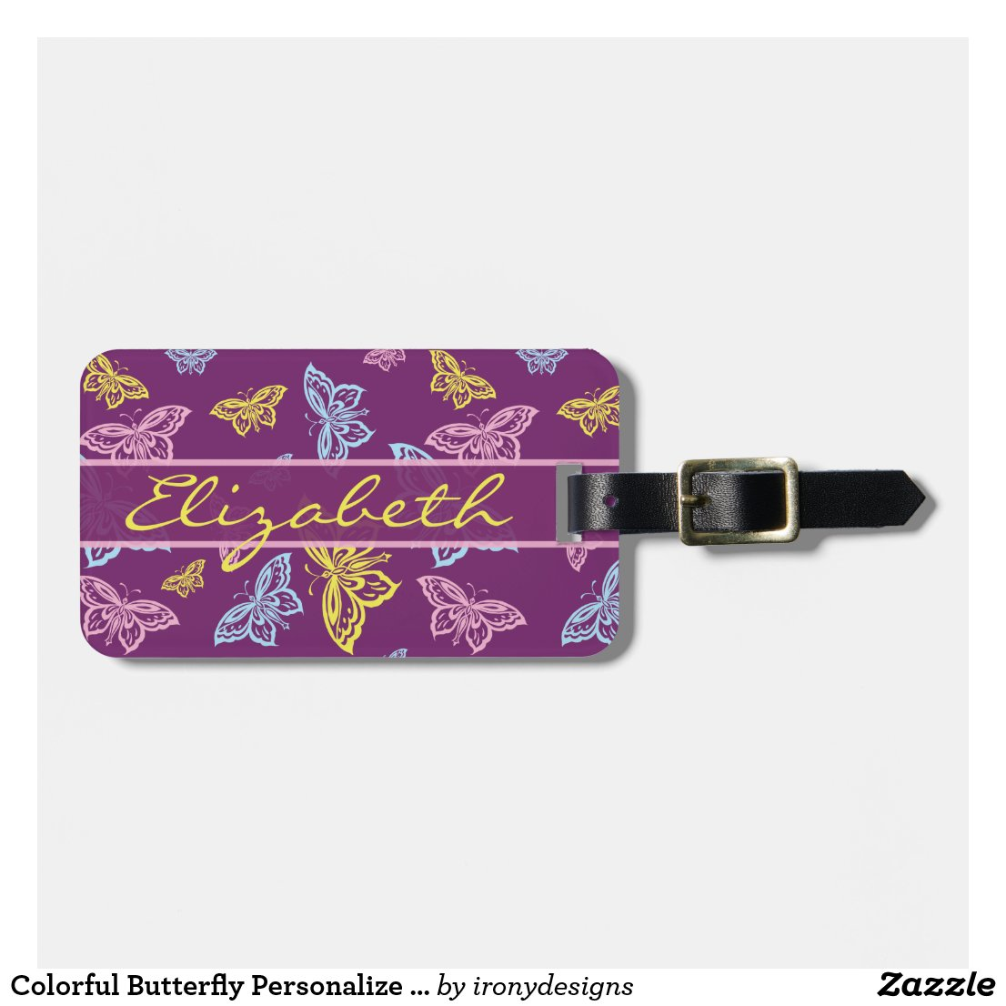 Colourful Butterfly Personalise Luggage Tag