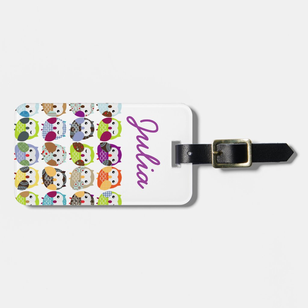 Colourful Owl Pattern Luggage Tag