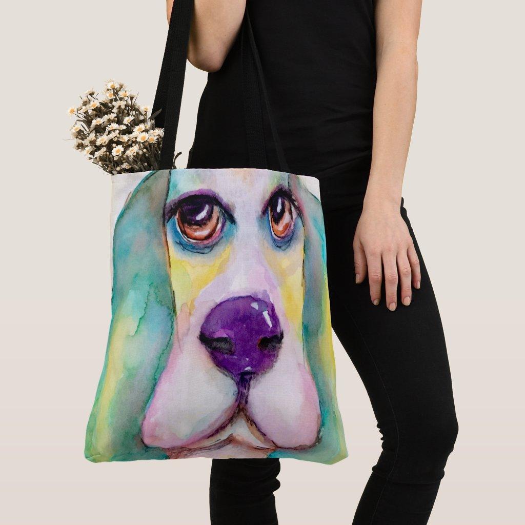 Colourful Watercolor Basset Hound Dog Big Eyes Tote Bag