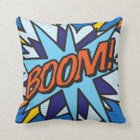 Comic Book Pop Art BOOM! ZOOM! Throw Pillow