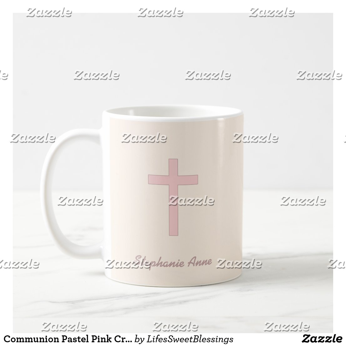 Communion Pastel Pink Cross Mug