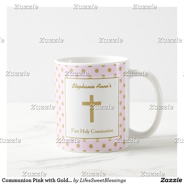 Communion Pink with Gold Polka Dots Coffee Mug