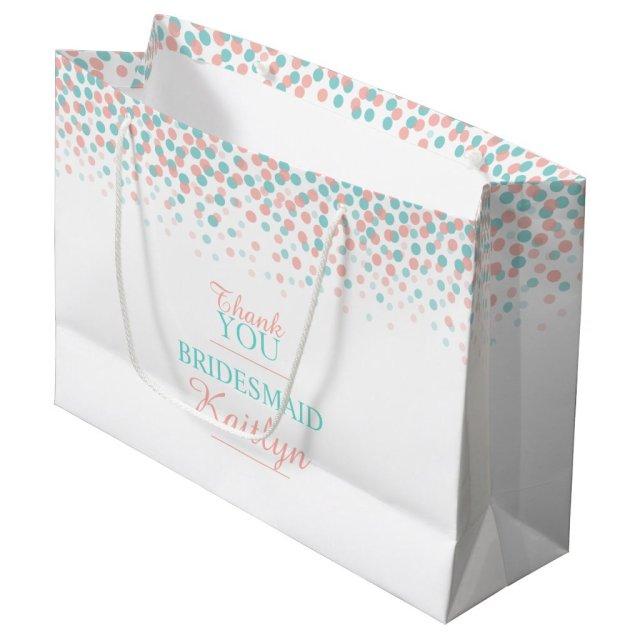 Confetti dots teal coral orange wedding gift bag
