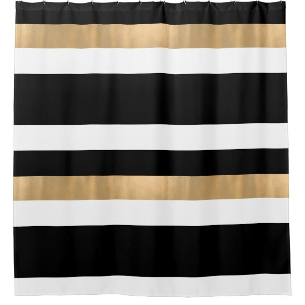 contemporary black white and gold shower curtain zazzle co uk