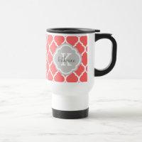 Coral and Gray Moroccan Quatrefoil Monogram 15 Oz Stainless Steel Travel Mug