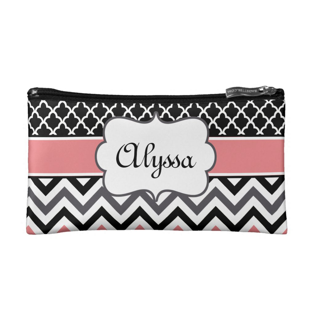 Coral Black Quatrefoil and Chevron Personalised