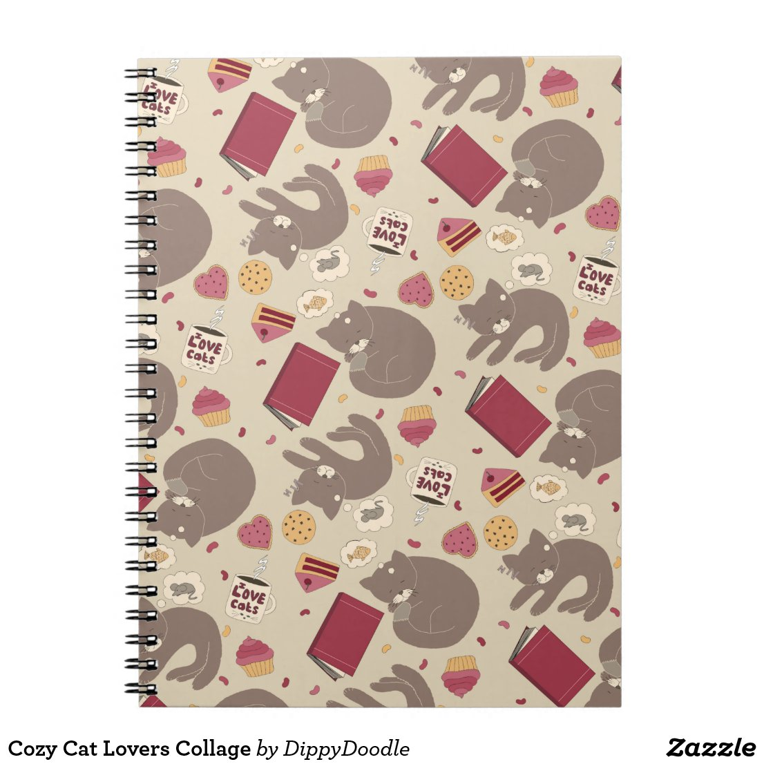 Cosy Cat Lovers Collage Notebook