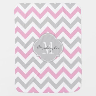 Cottoncandy Pink and Grey Chevron Blanket