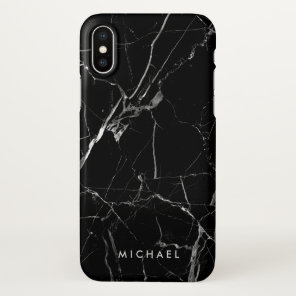 Cracked Black Marble Texture Personalised Name iPhone X Case