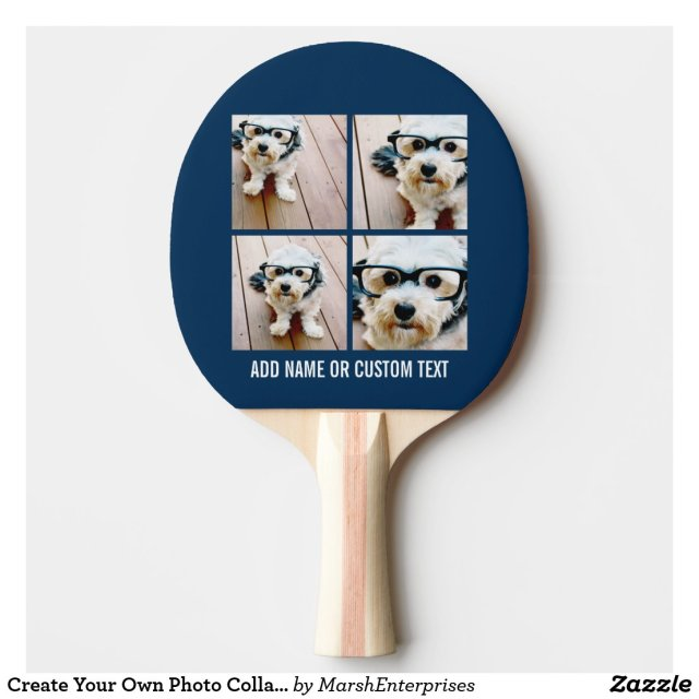 Create Your Own Photo Collage Navy 4 Pictures Ping Pong Paddle