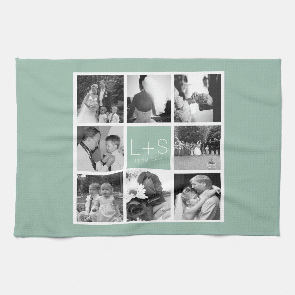 Create Your Own Wedding Photo Collage Monogram Tea Towel