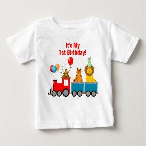 Custom Birthday Boy Zoo Safari Animal Lion Monkey Baby T-Shirt