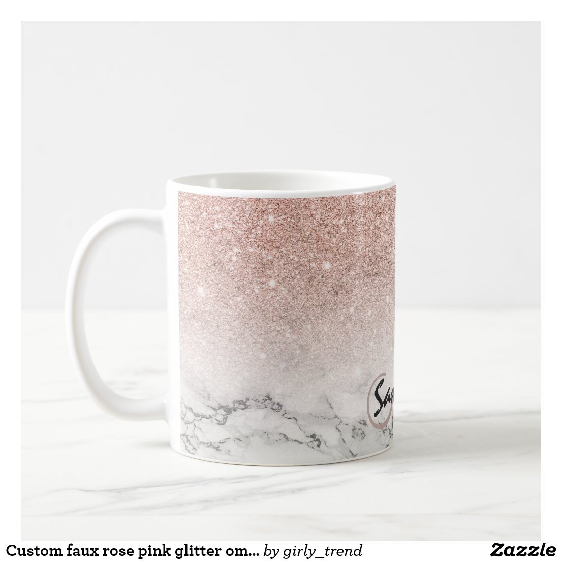 Custom faux rose pink glitter ombre white marble