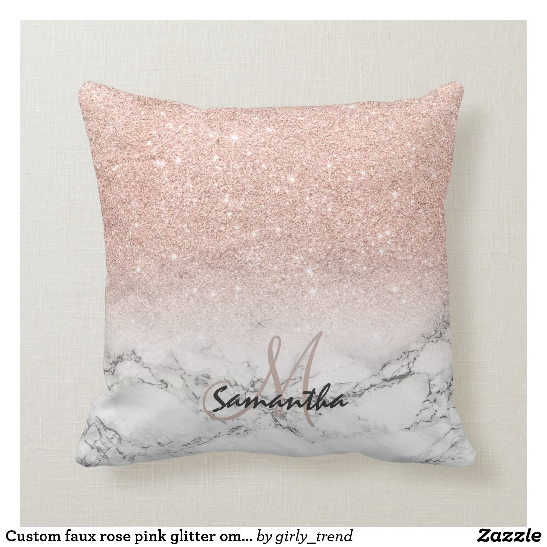 Custom faux rose pink glitter ombre white marble cushion