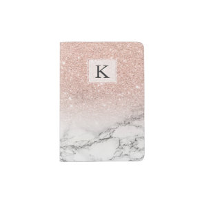 Custom faux rose pink glitter ombre white marble passport holder