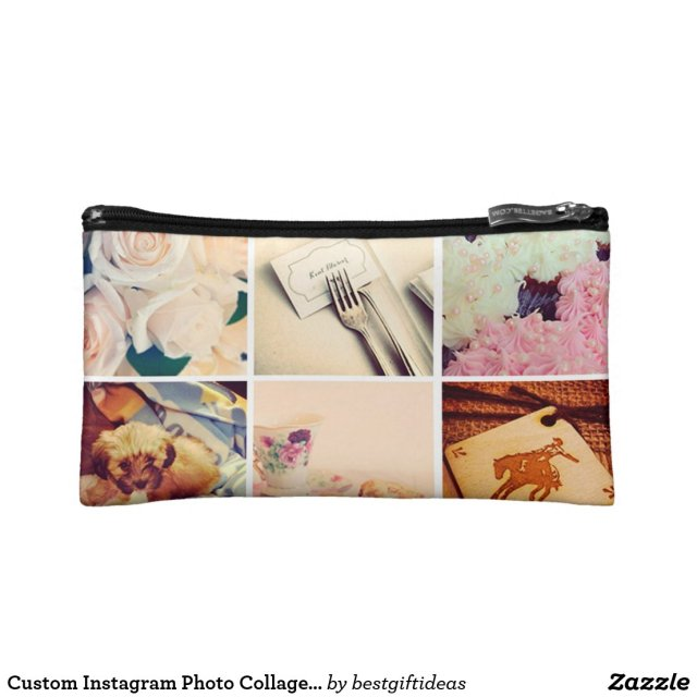 Custom Instagram Photo Collage Cosmetic Bag