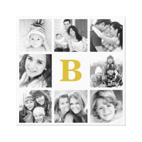 Custom Monogram Family Photo Collage Canvas Print