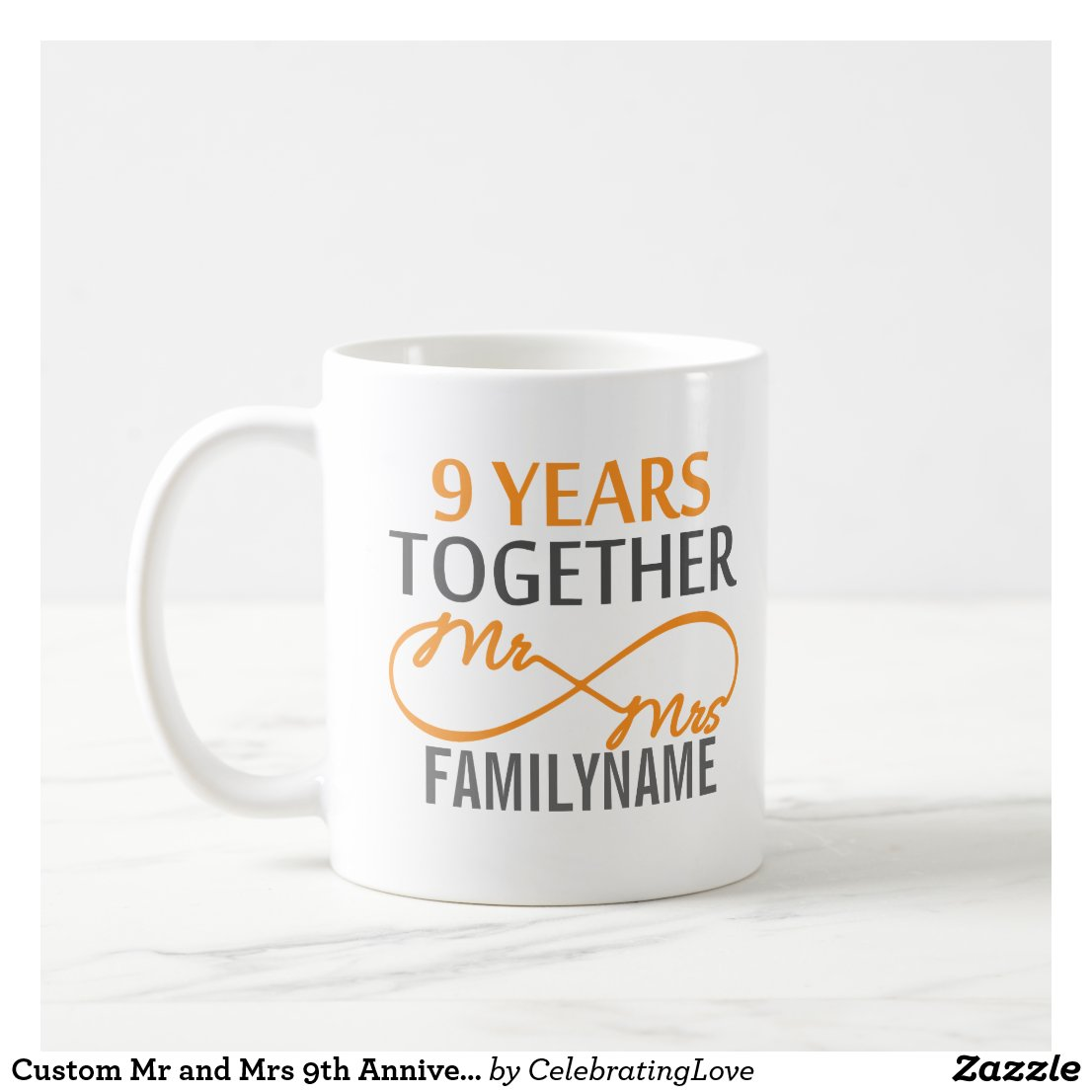 Custom Mr and Mrs 9th Anniversary Mug