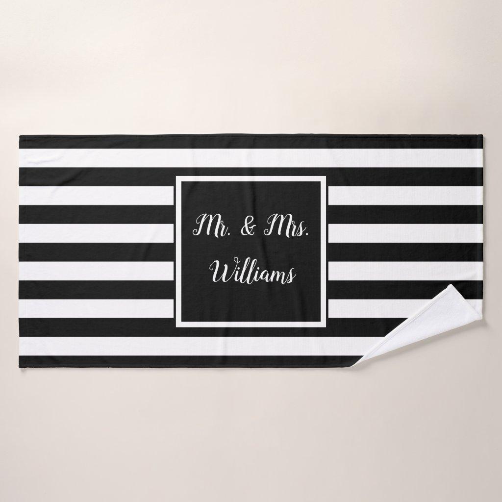 Custom Name Mr. and Mrs. Bath Towel Set