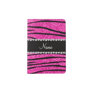 Custom name neon hot pink glitter zebra diamonds