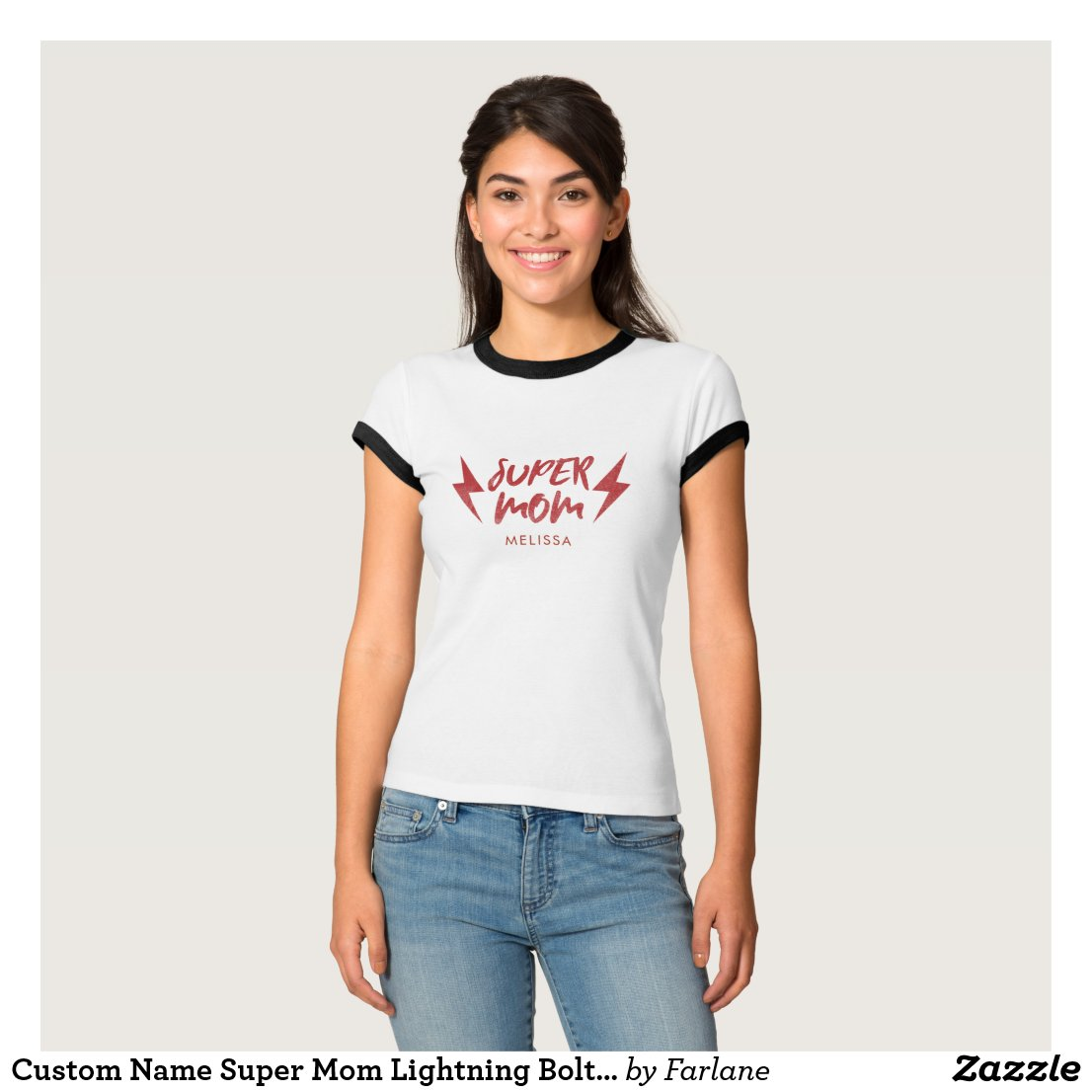 Custom Name Super Mum Lightning Bolt Rock'n Roll T-Shirt