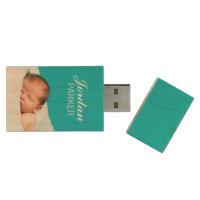 Custom Newborn Photo Monogram USB Flash Drive Wood USB 2.0 Flash Drive