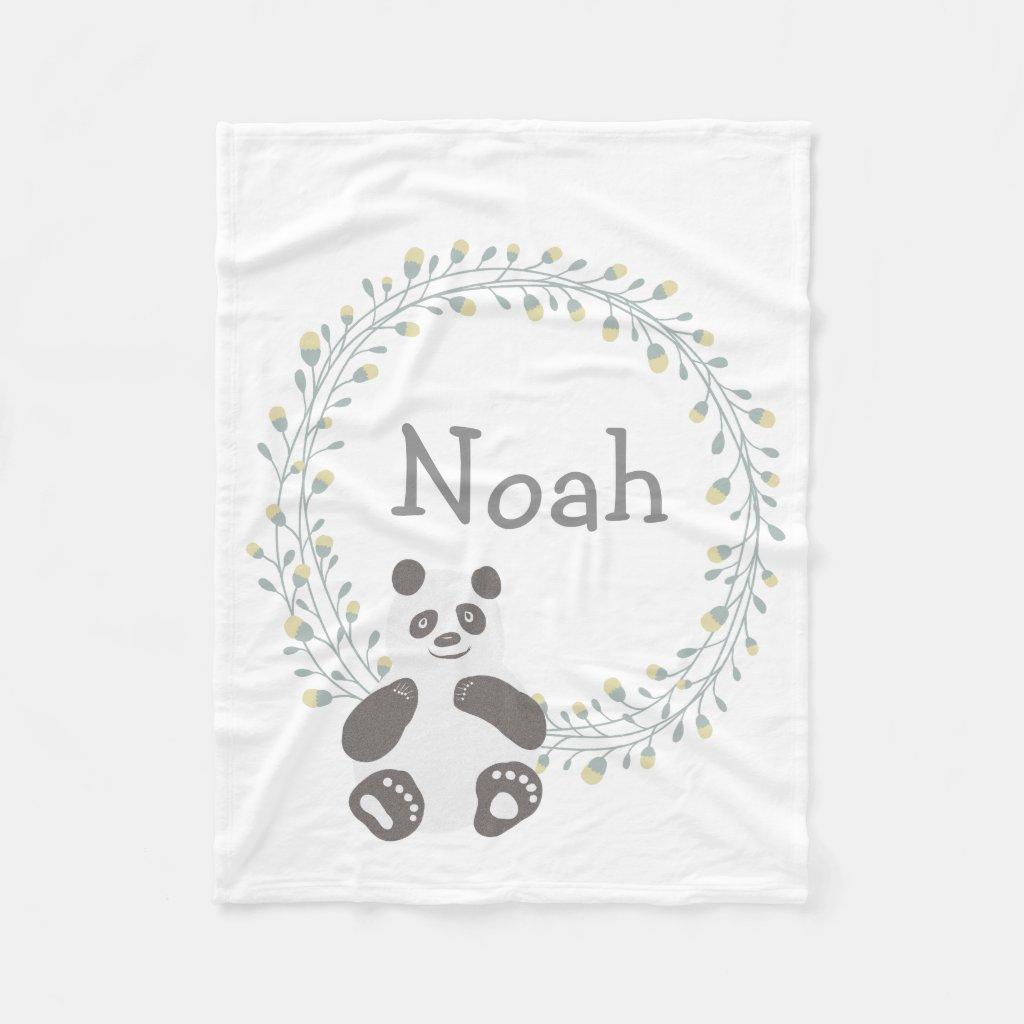 Custom Personalised Baby Blanket Panda Bear