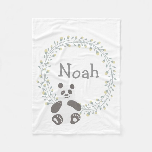 Custom Personalised Baby Blanket Panda Bear