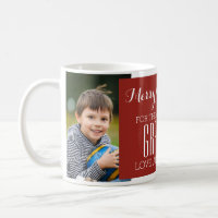Custom Photo Best Grandma Christmas Mug Red