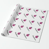 Custom pink ladybug baby shower wrappingpaper wrapping paper
