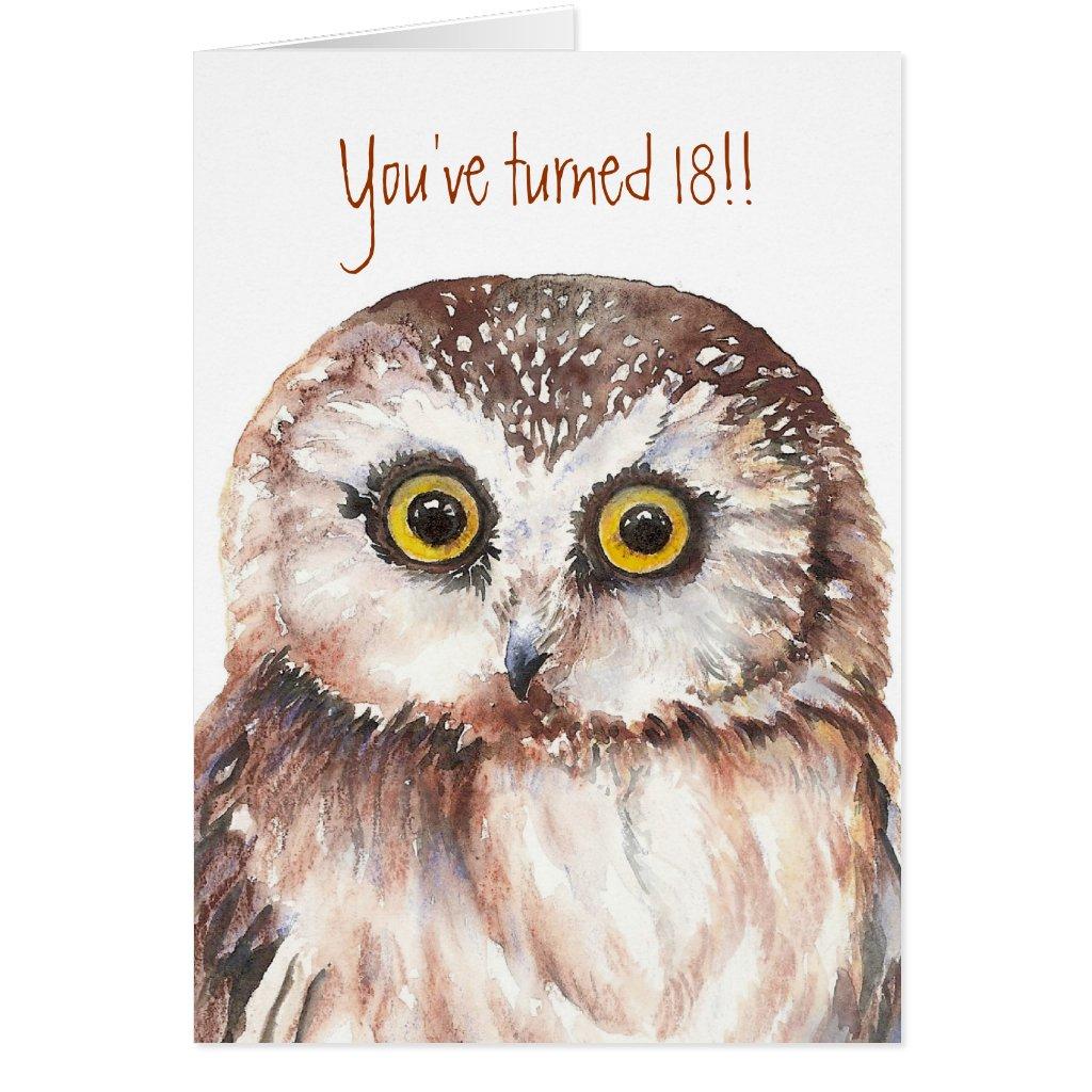 Custom Shocked Funny-Little Owl, 18th Birthday Card