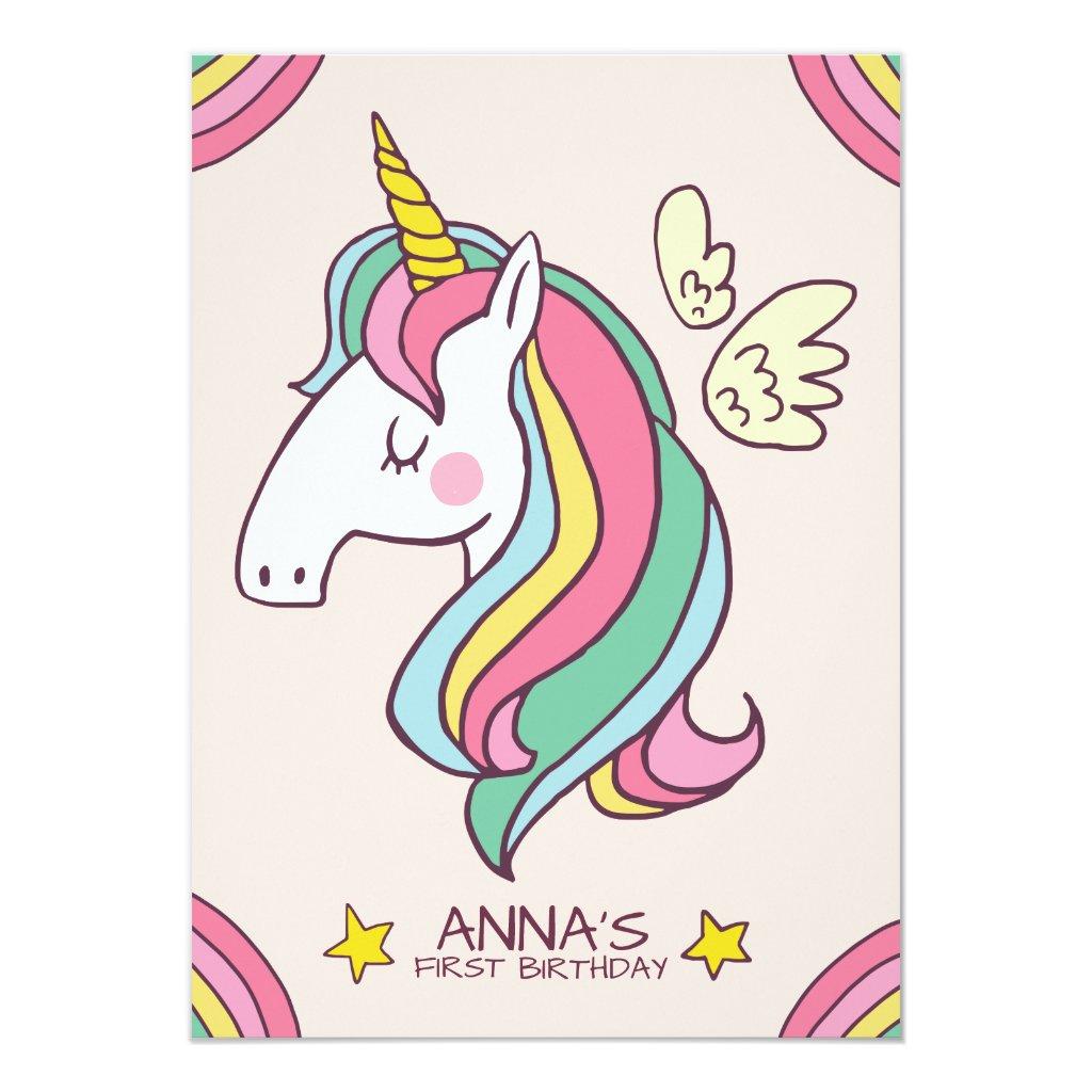 Cute Birthday Doodle Flying Rainbow Unicorn Card
