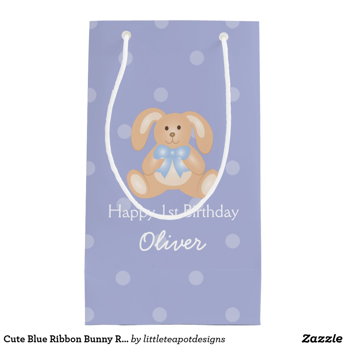 Cute Blue Ribbon Bunny Rabbit First Birthday Party Gift Bag