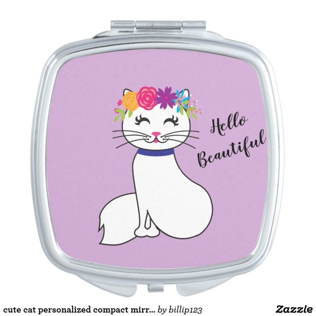 cute cat personalised compact mirror