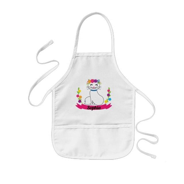 cute cat personalised name kids apron