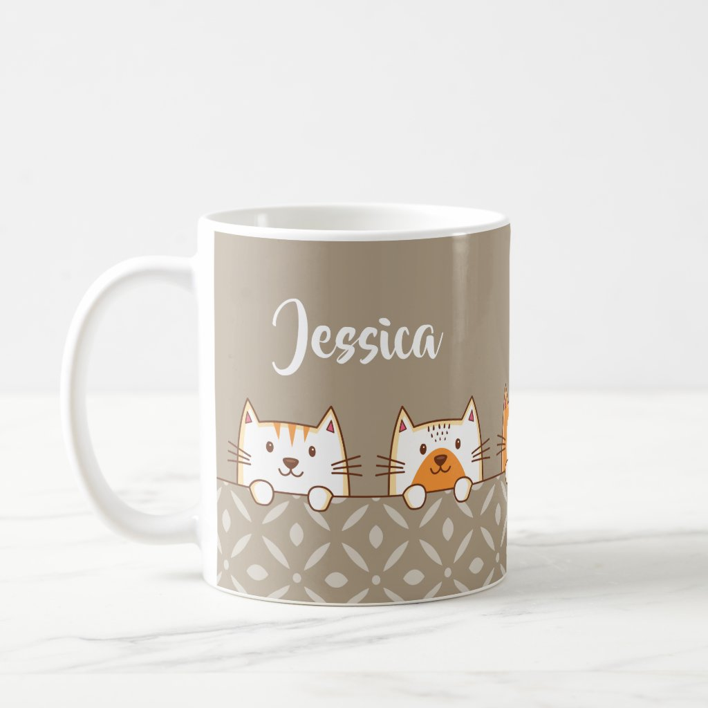 Cute Cats Ginger And White Coffee Mug