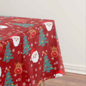 Cute Christmas Santa Reindeer | Christmas Holidays Tablecloth