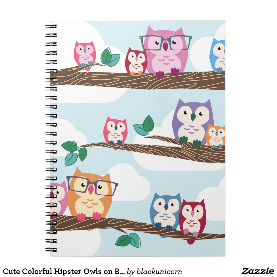 Cute Colourful Hipster Owls on Branches Notebook