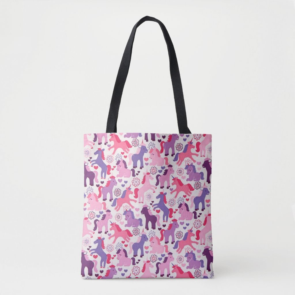 Cute Colourful Playing Unicorns Tote Bag