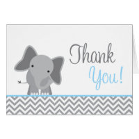 Cute Elephant Chevron Light Blue Thank You Stationery Note Card