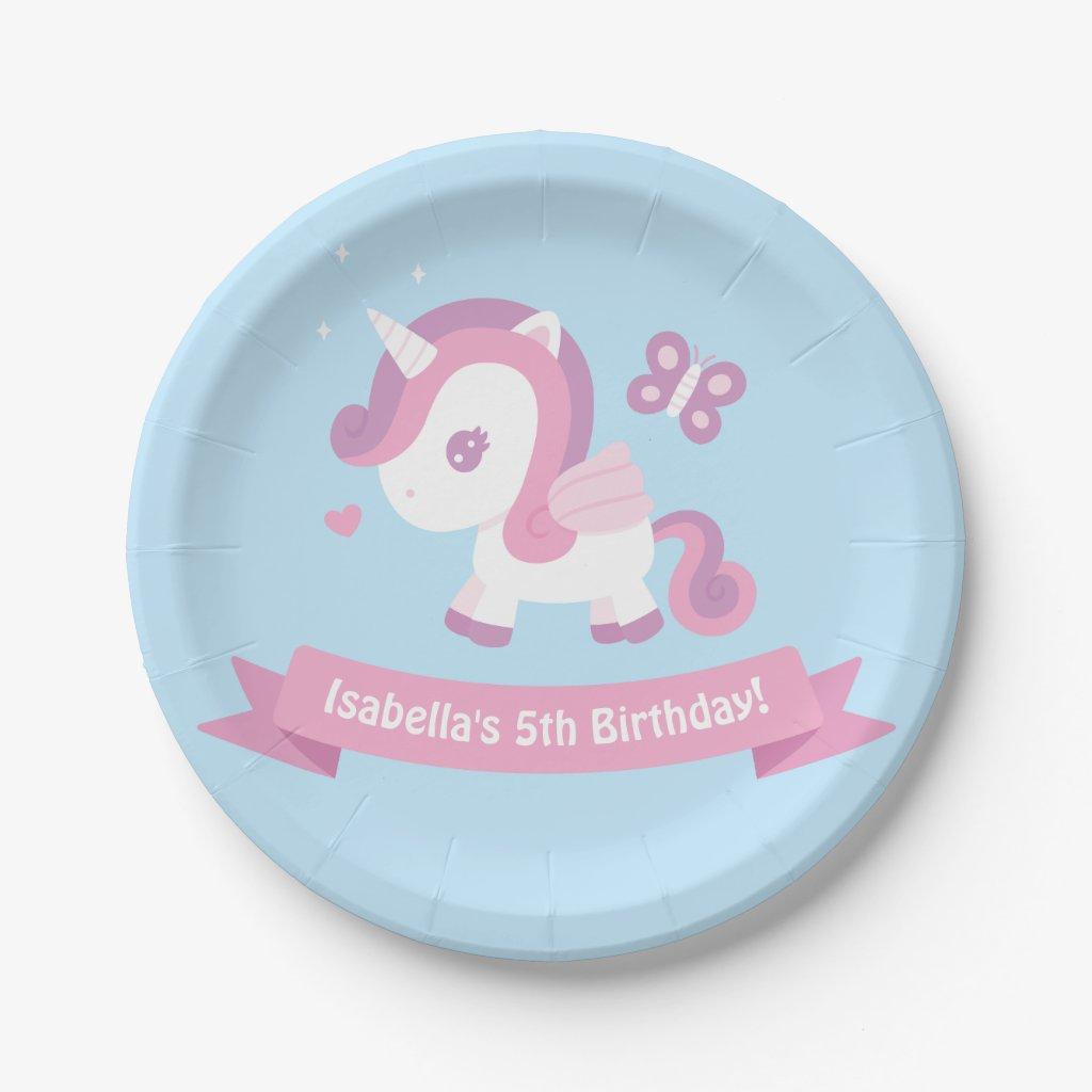 Cute Flying Magical Unicorn Girls Birthday Plates